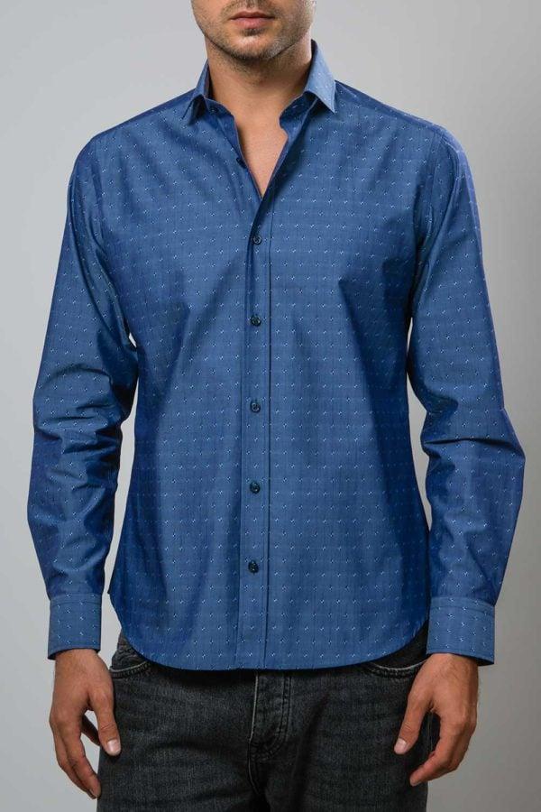 Camasa din tesatura satinata albastra