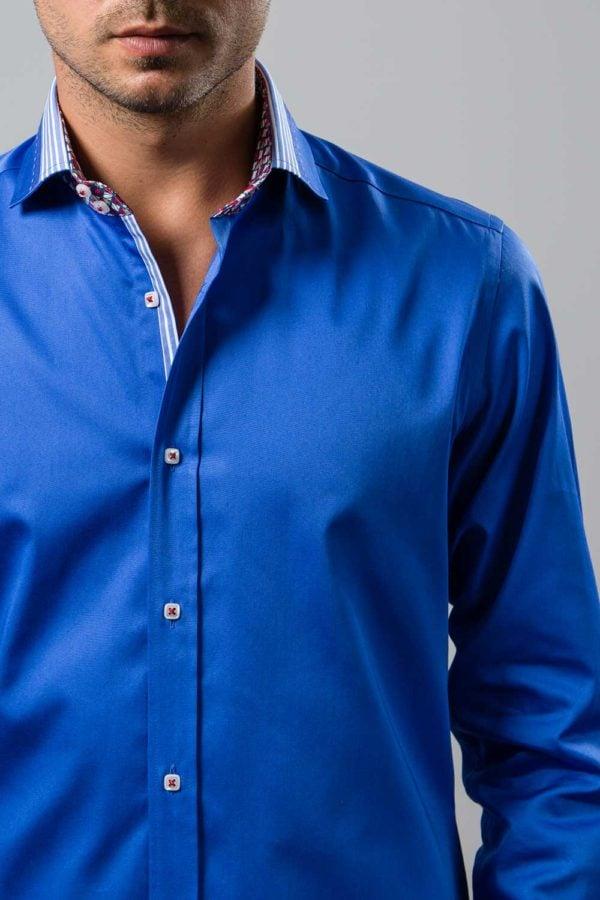 Camasa bleu din tesatura satin