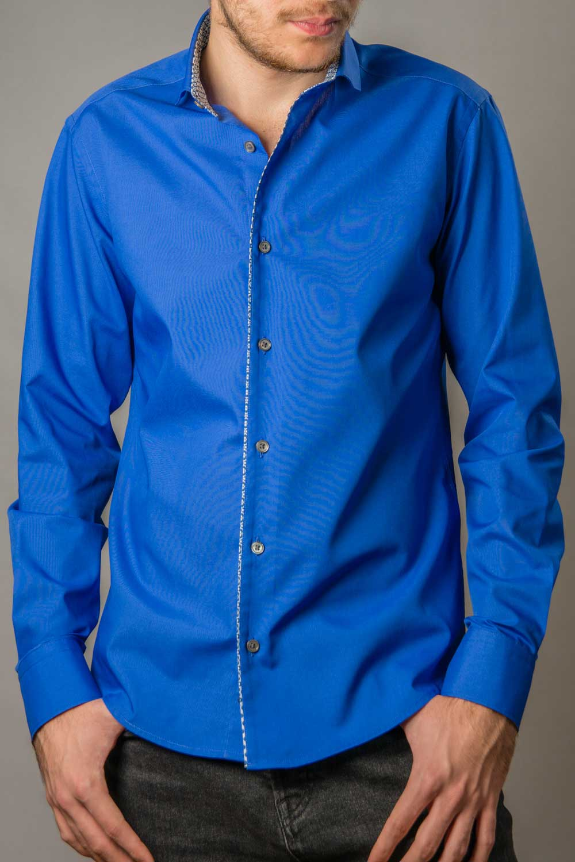 Conrad, camasa eleganta albastra slim fit cu contrast discret