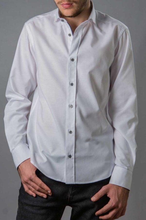 Eric, camasa eleganta alba slim fit cu contrast discret
