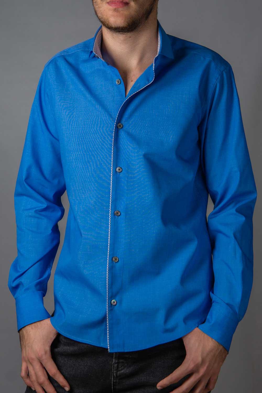Frank, camasa eleganta bleu slim fit cu contrast discret