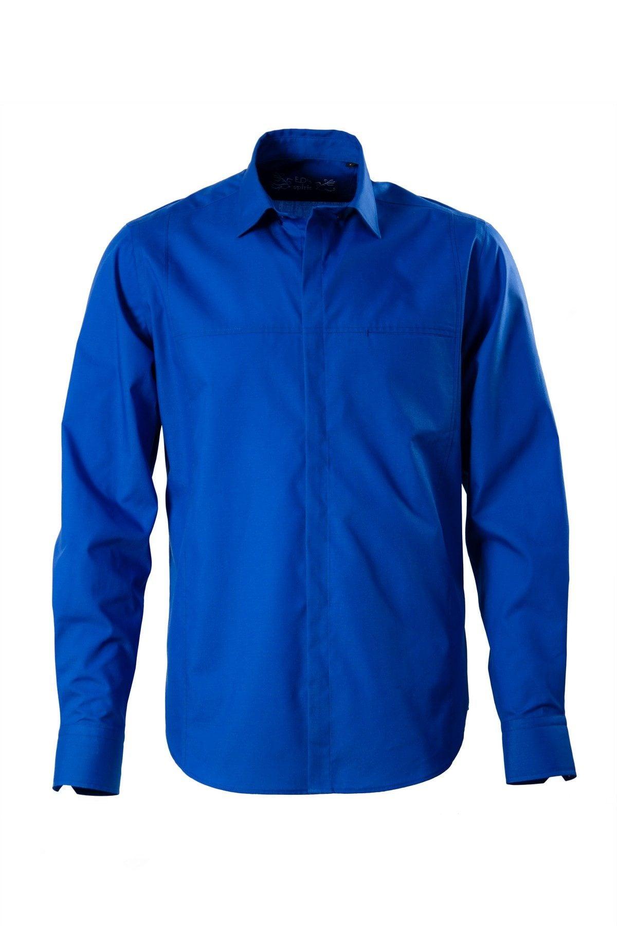 Camasa albastra casual pe tipar SLIM FIT si buzunar ascuns