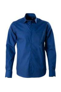Camasa bleumarin casual pe tipar SLIM FIT si buzunar ascuns