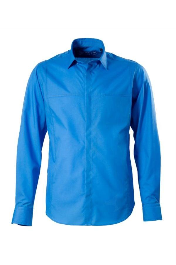 Camasa albastra office pe tipar SLIM FIT si buzunar ascuns