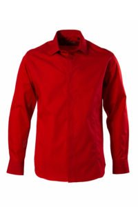 Cămașă roșie pe tipar SLIM FIT si clini curbi pe piept