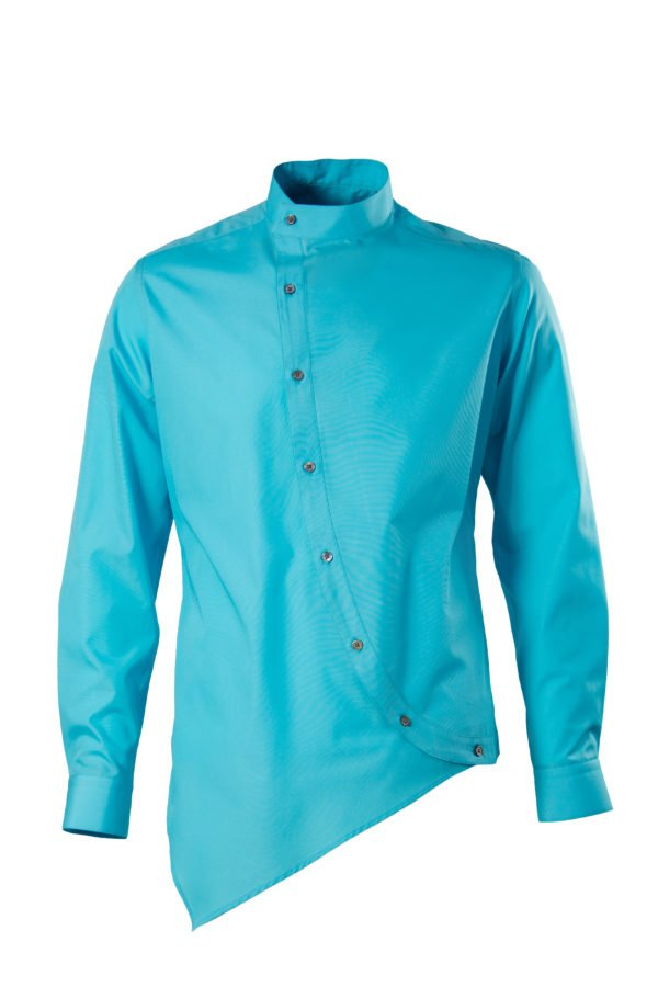 Camasa asimetrica turcoaz cu guler tunica