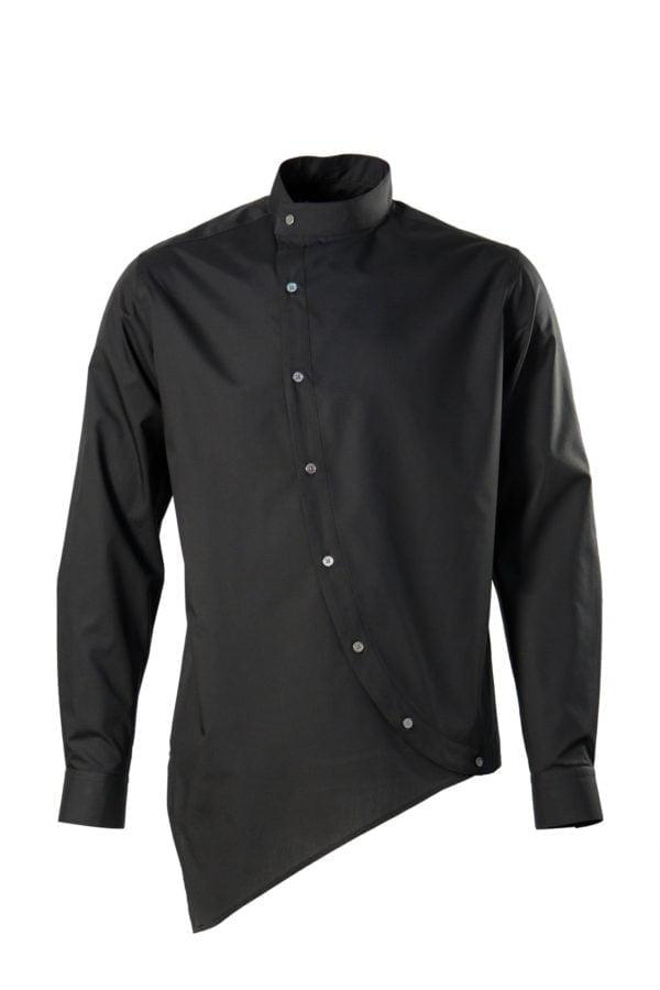 Camasa asimetrica neagra cu guler tunica