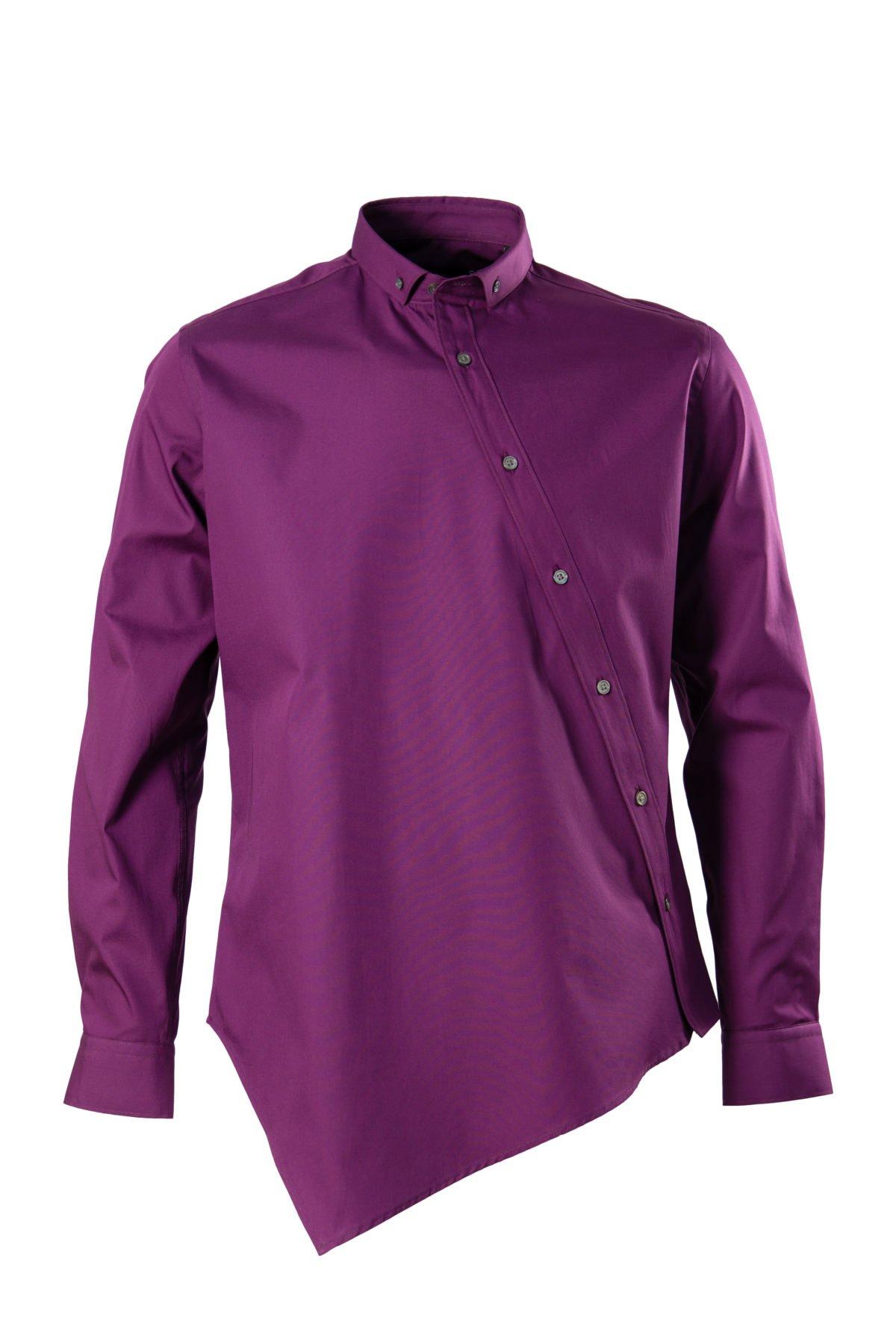 Camasa lilac asimetrica pe tipar SLIM FIT