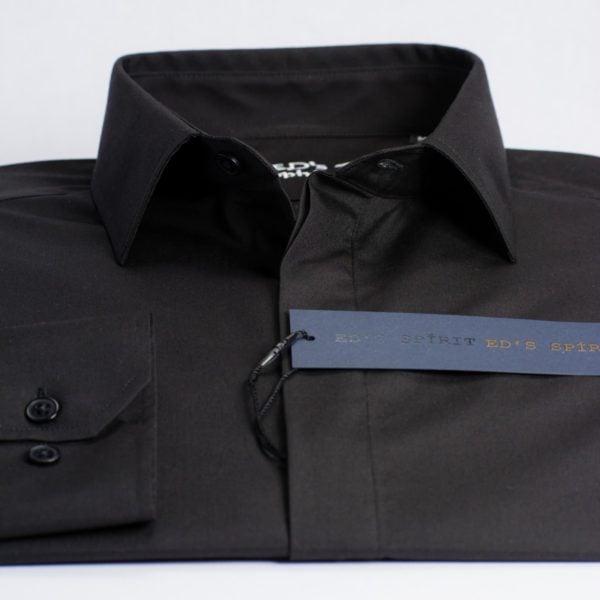 Camasa neagra SLIM FIT si clini curbi pe piept