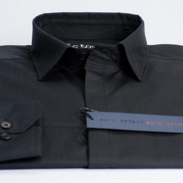 Camasa neagra casual cu buzunar ascuns pe piept
