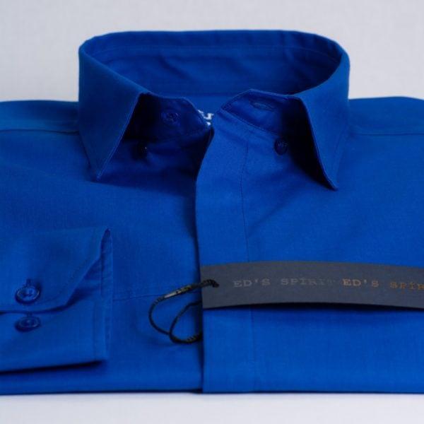 Camasa albastra cu nasturi ascunsi