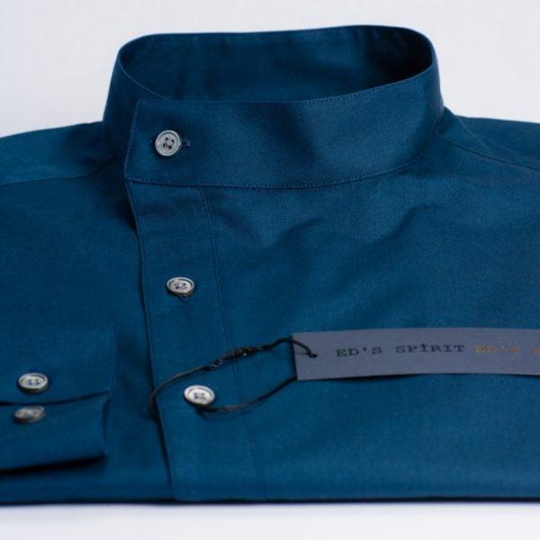 Camasa asimetrica bleumarin cu guler tunica