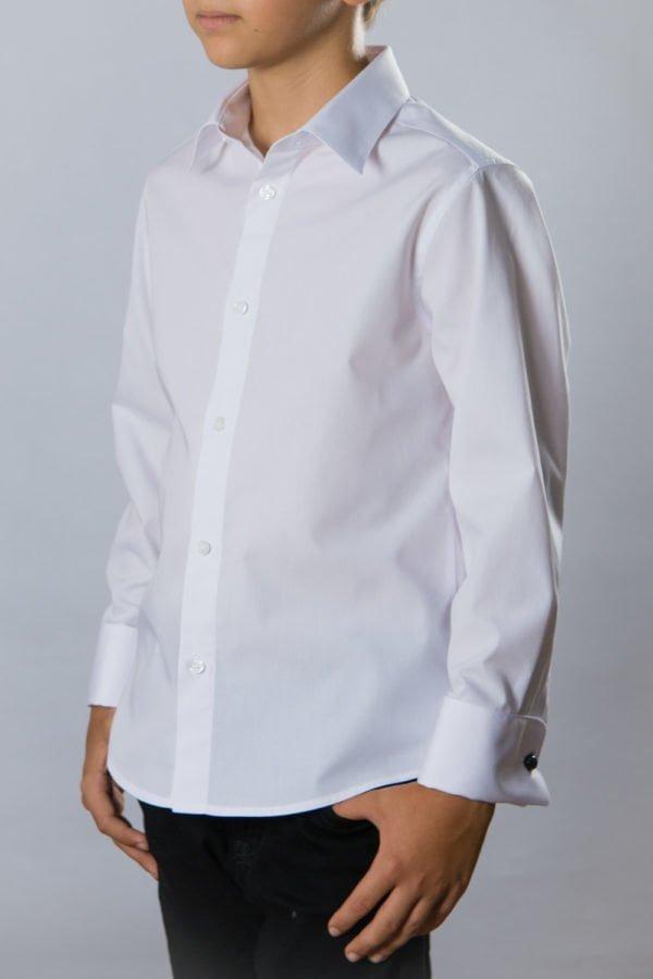 Camasa alba pentru copii cu mansete duble