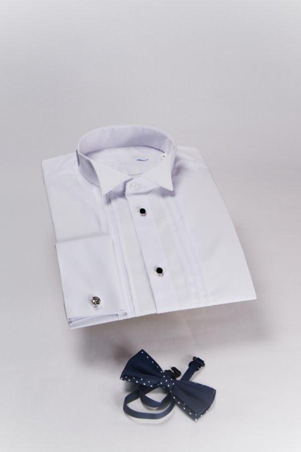 Camasa alba cu guler pentru papion si teturi pe piept